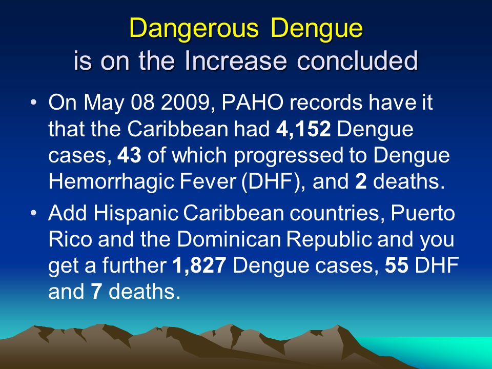 Dangerous Dengue is on the Increase concluded