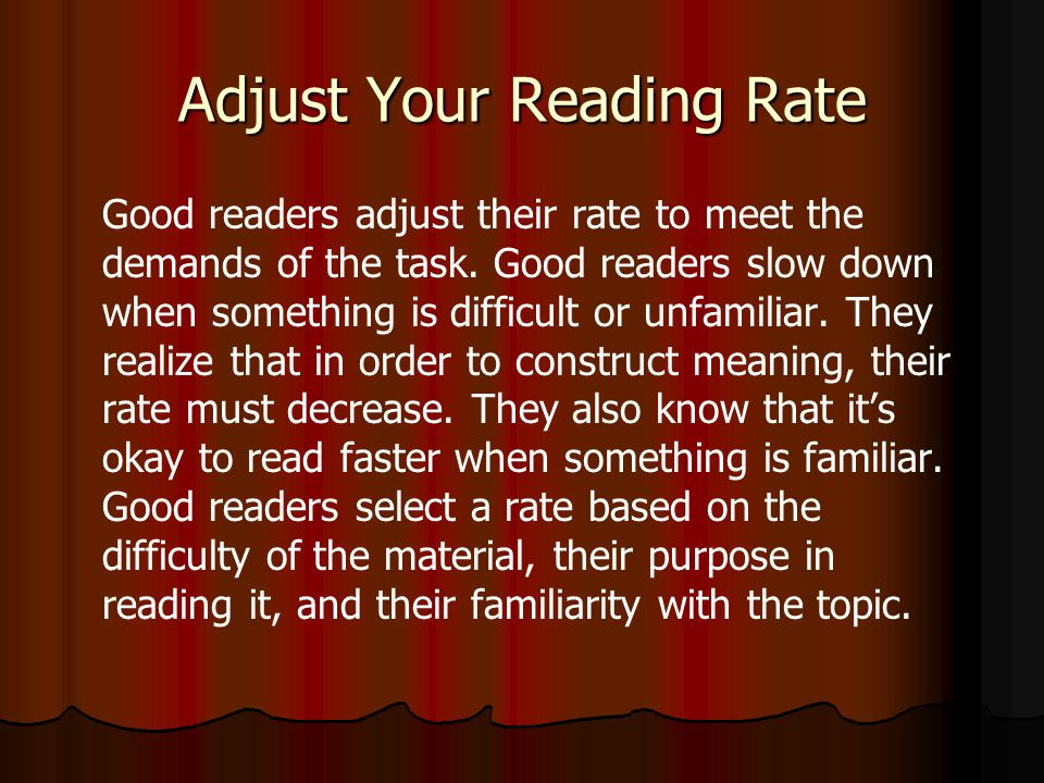 Adjust Your Reading Rate