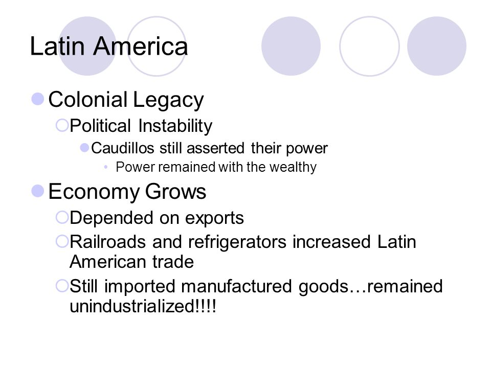 Latin America Colonial Legacy Economy Grows Political Instability
