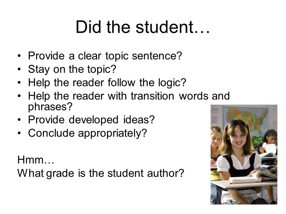 Did the student… Provide a clear topic sentence Stay on the topic