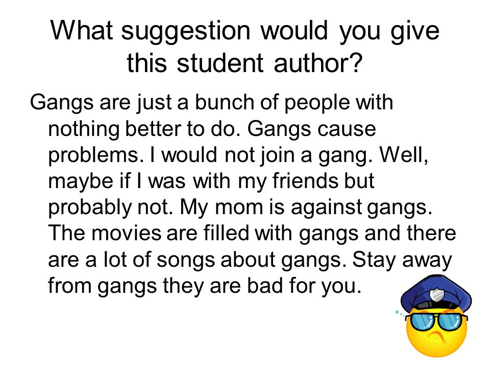 What suggestion would you give this student author