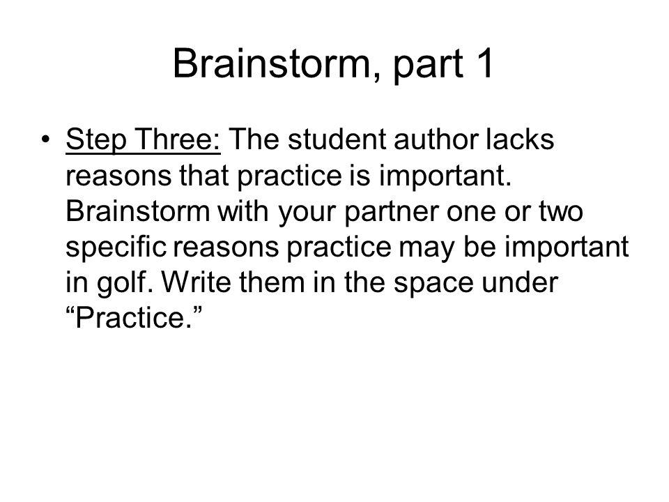 Brainstorm, part 1