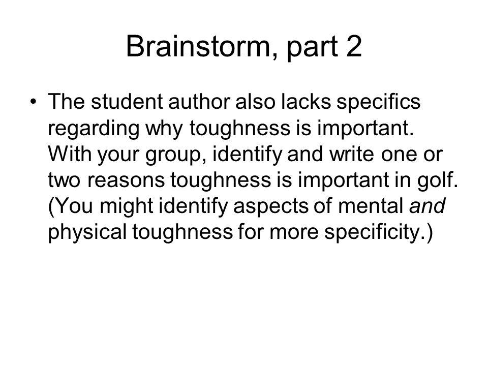 Brainstorm, part 2