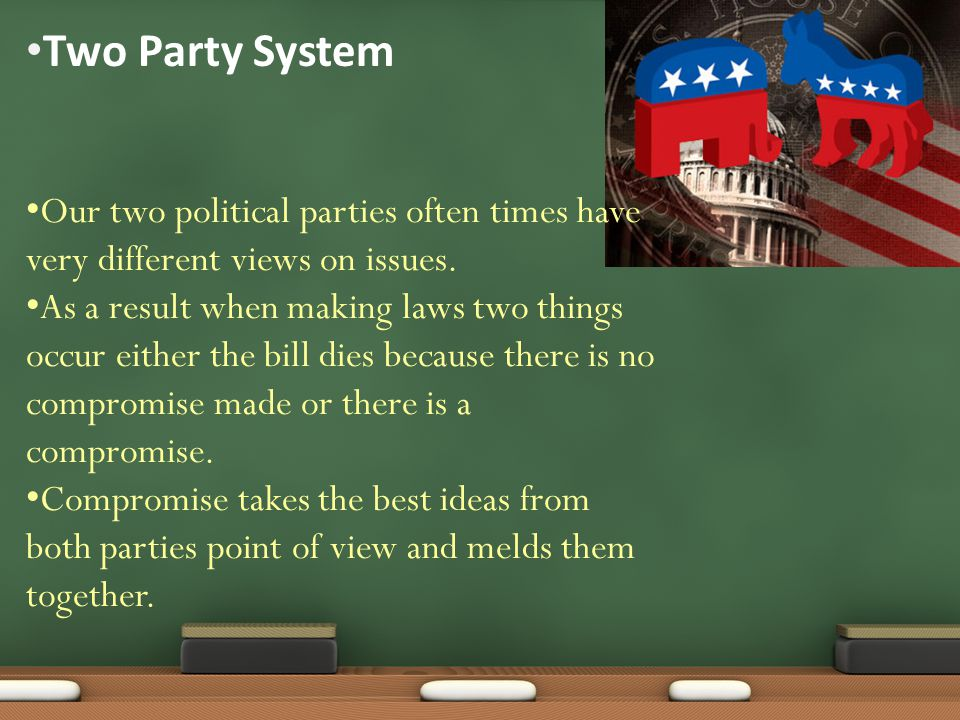 Two Party System Our two political parties often times have very different views on issues.