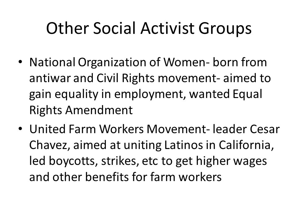 Other Social Activist Groups