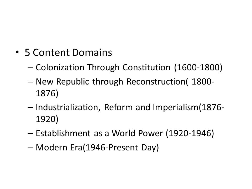 5 Content Domains Colonization Through Constitution (1600-1800)