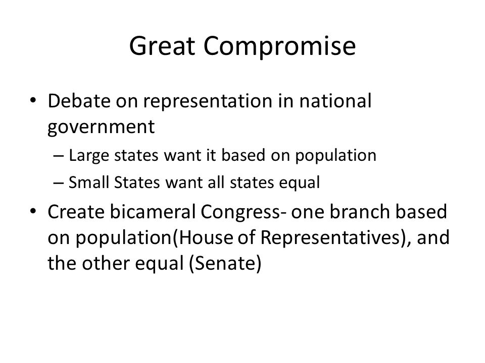 Great Compromise Debate on representation in national government