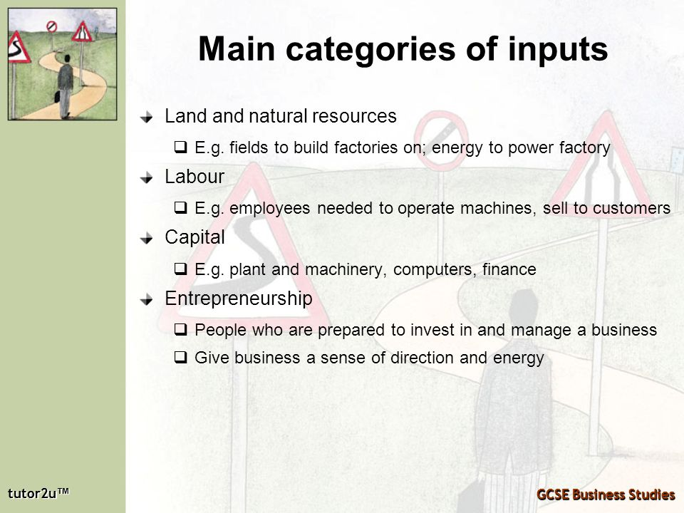 Main categories of inputs