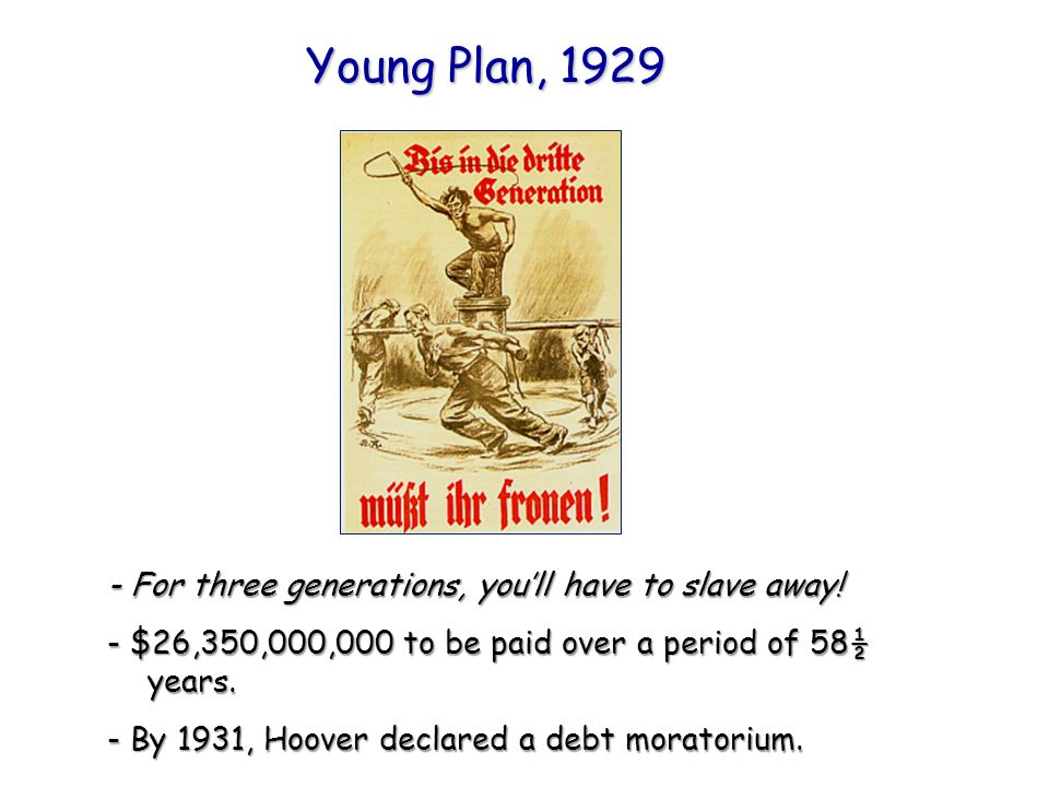 Young Plan, 1929 - For three generations, you'll have to slave away!