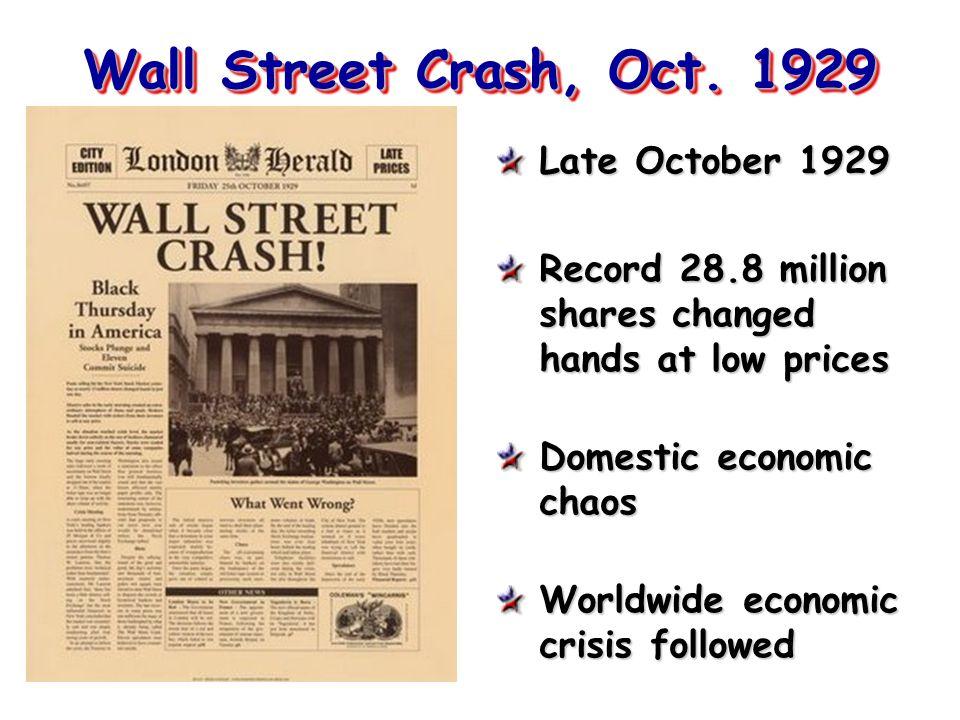 Wall Street Crash, Oct. 1929 Late October 1929