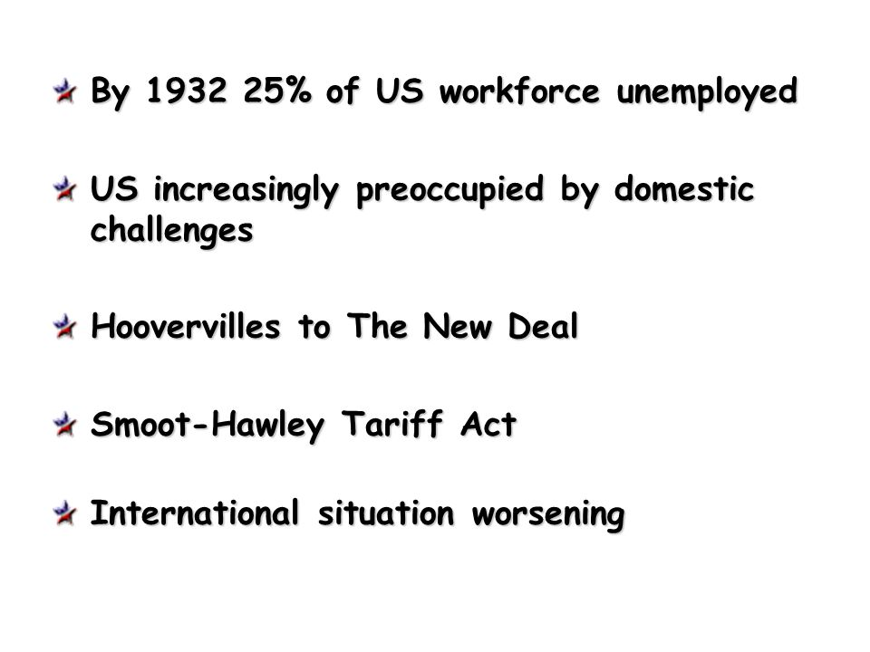 By 1932 25% of US workforce unemployed