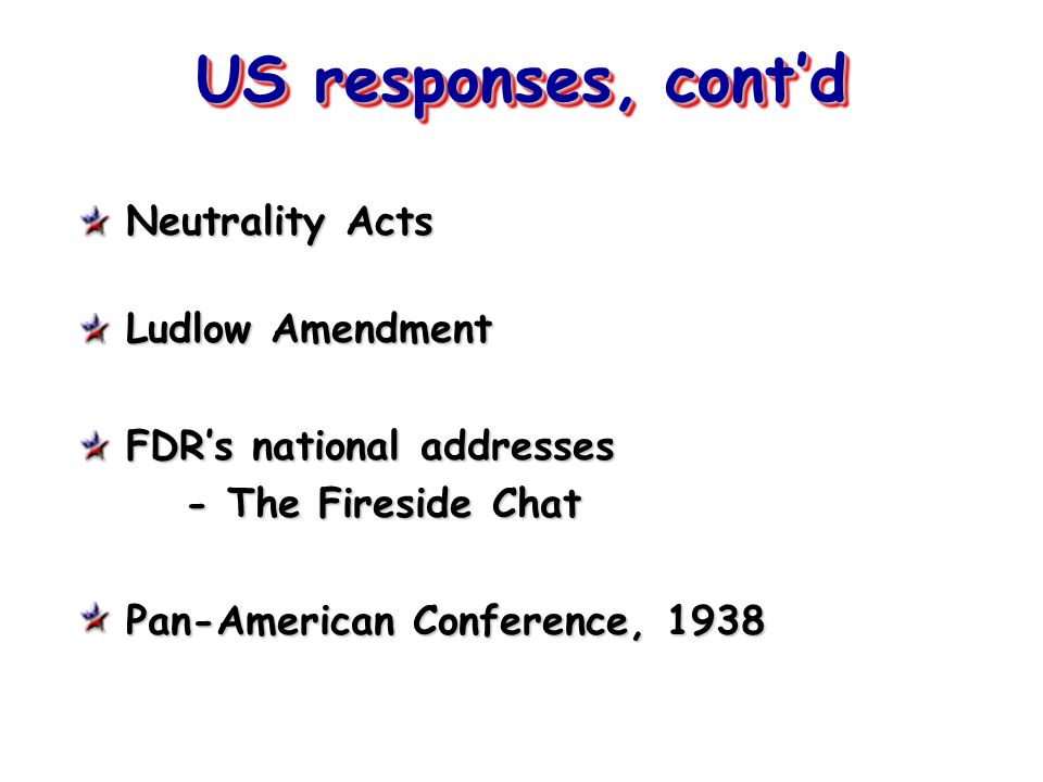 US responses, cont'd Neutrality Acts Ludlow Amendment