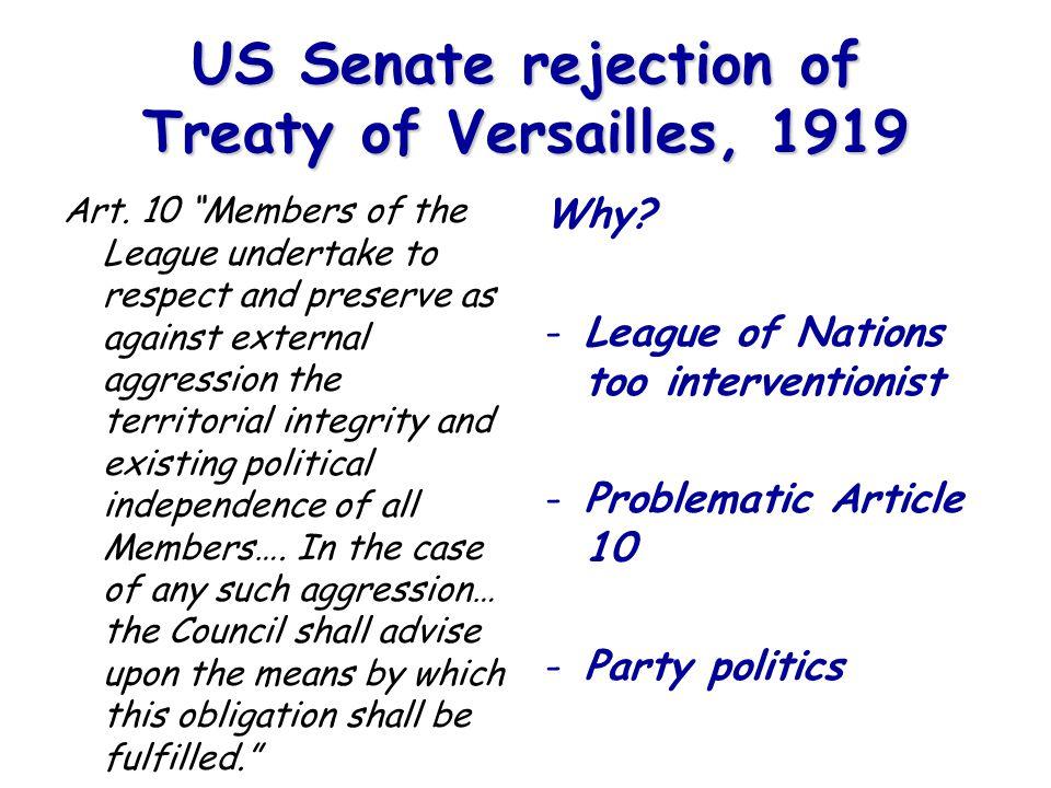 US Senate rejection of Treaty of Versailles, 1919