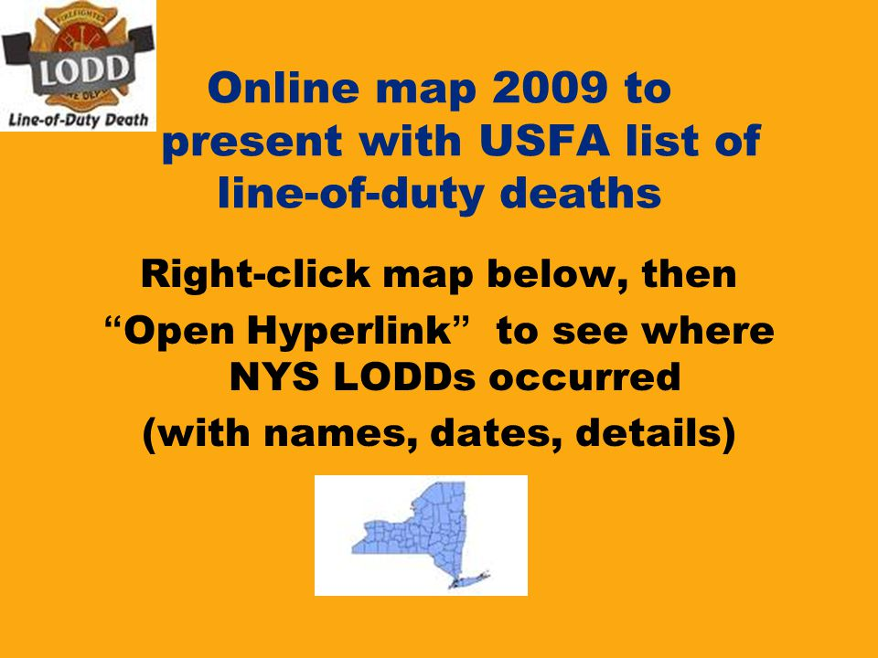 Online map 2009 to present with USFA list of line-of-duty deaths