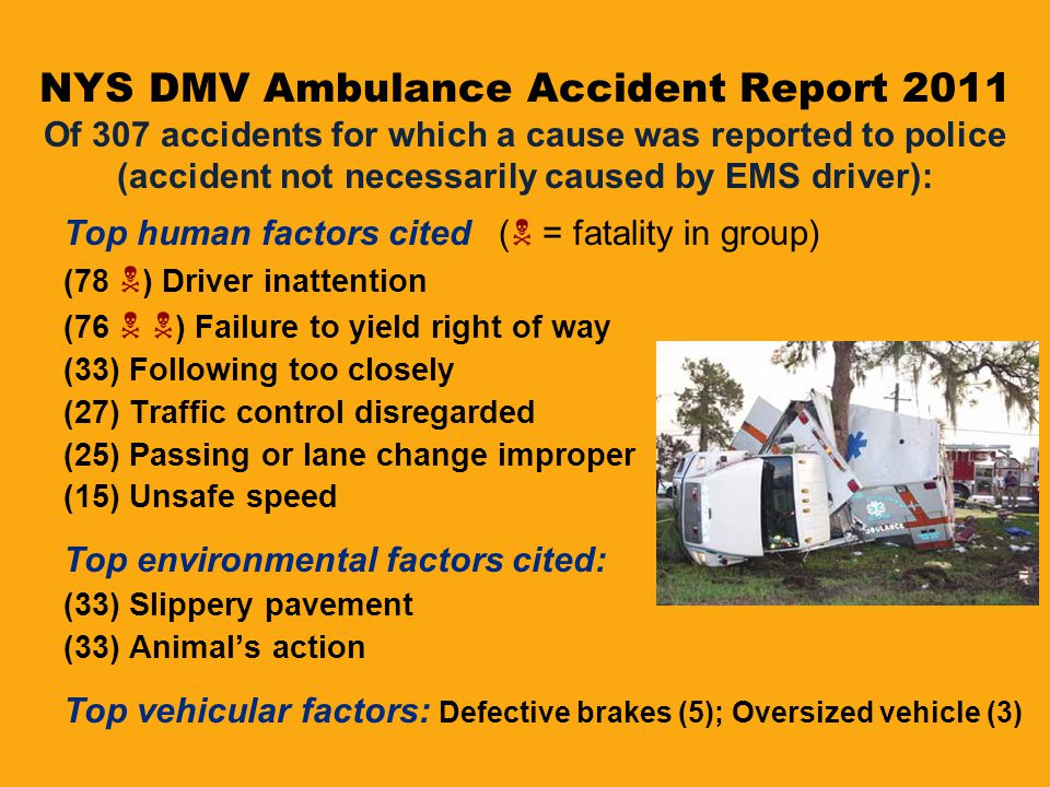 NYS DMV Ambulance Accident Report 2011 Of 307 accidents for which a cause was reported to police (accident not necessarily caused by EMS driver):