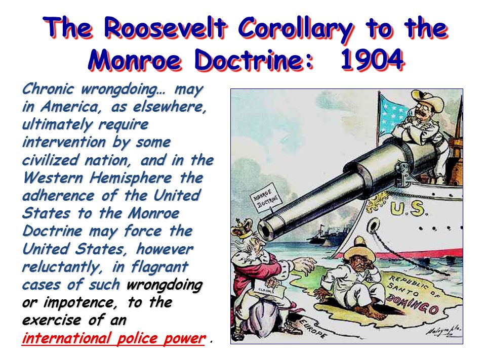 The Roosevelt Corollary to the Monroe Doctrine: 1904