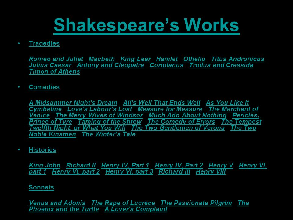 Shakespeare's Works Tragedies