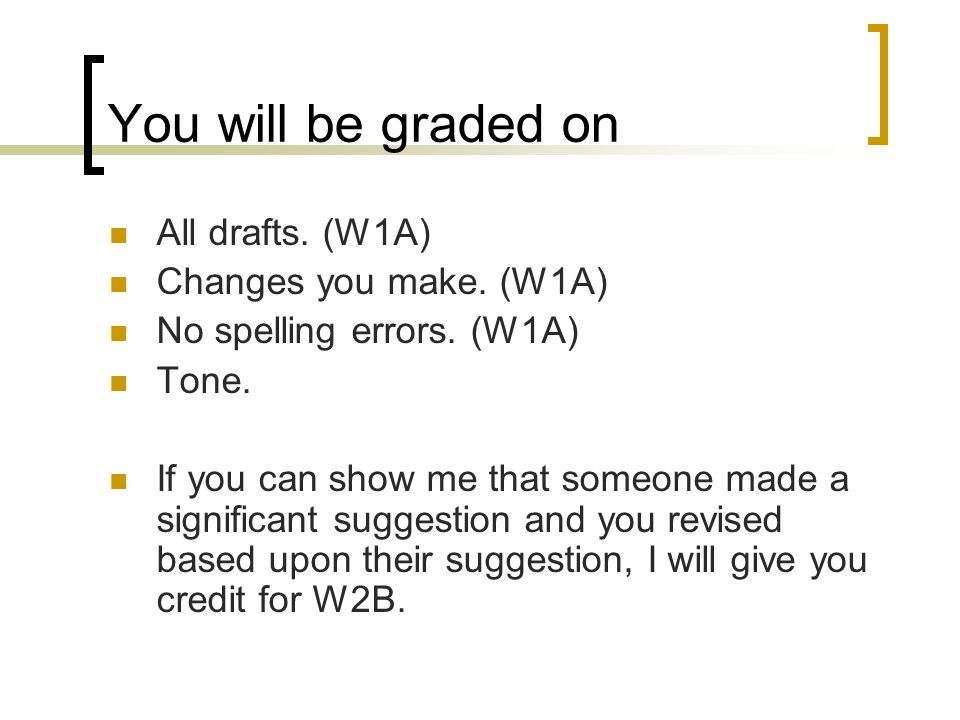 You will be graded on All drafts. (W1A) Changes you make. (W1A)