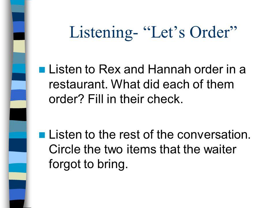 Listening- Let's Order