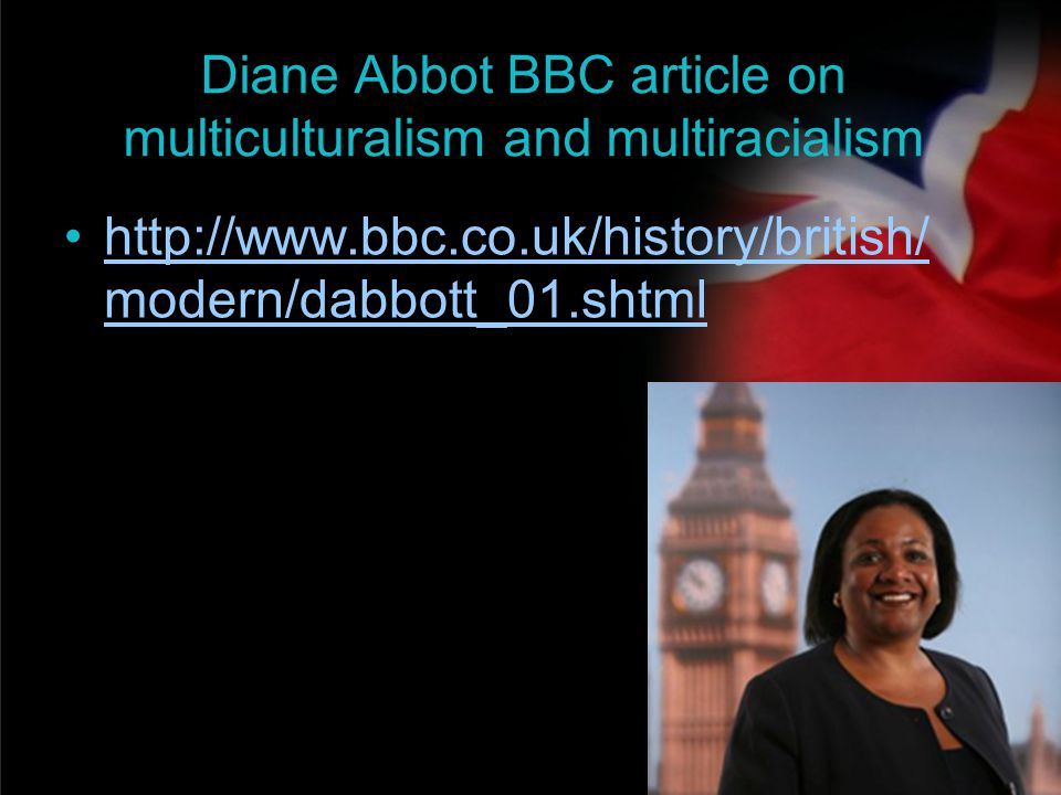 Diane Abbot BBC article on multiculturalism and multiracialism