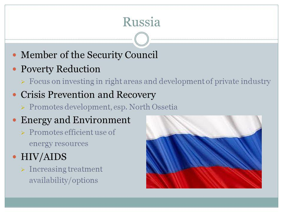 Russia Member of the Security Council Poverty Reduction