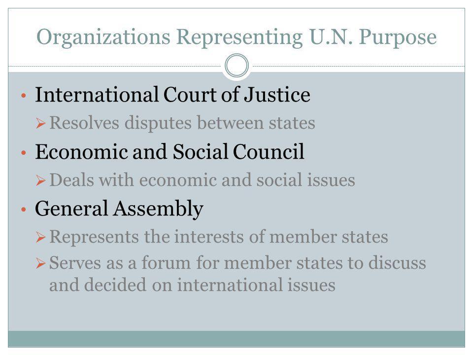Organizations Representing U.N. Purpose