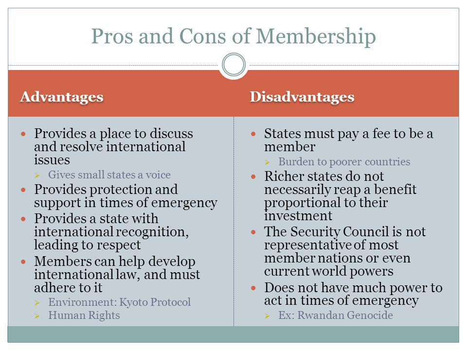 Pros and Cons of Membership