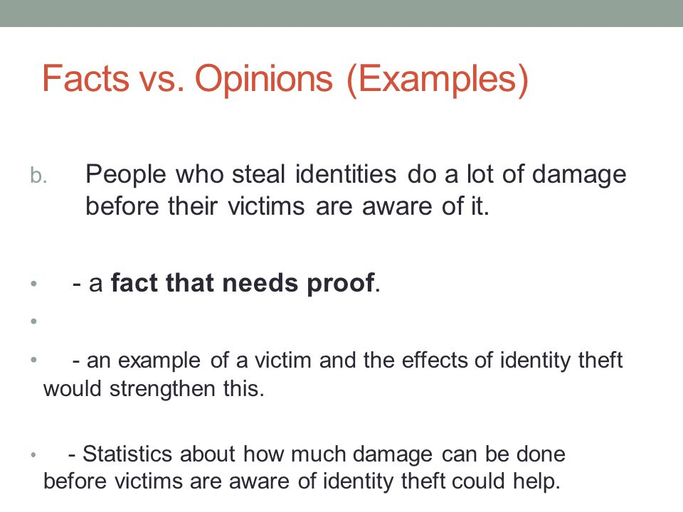 Facts vs. Opinions (Examples)