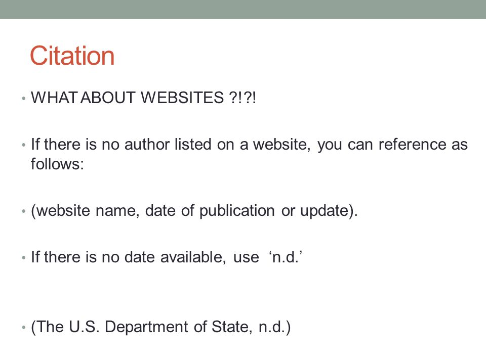 Citation WHAT ABOUT WEBSITES ! !