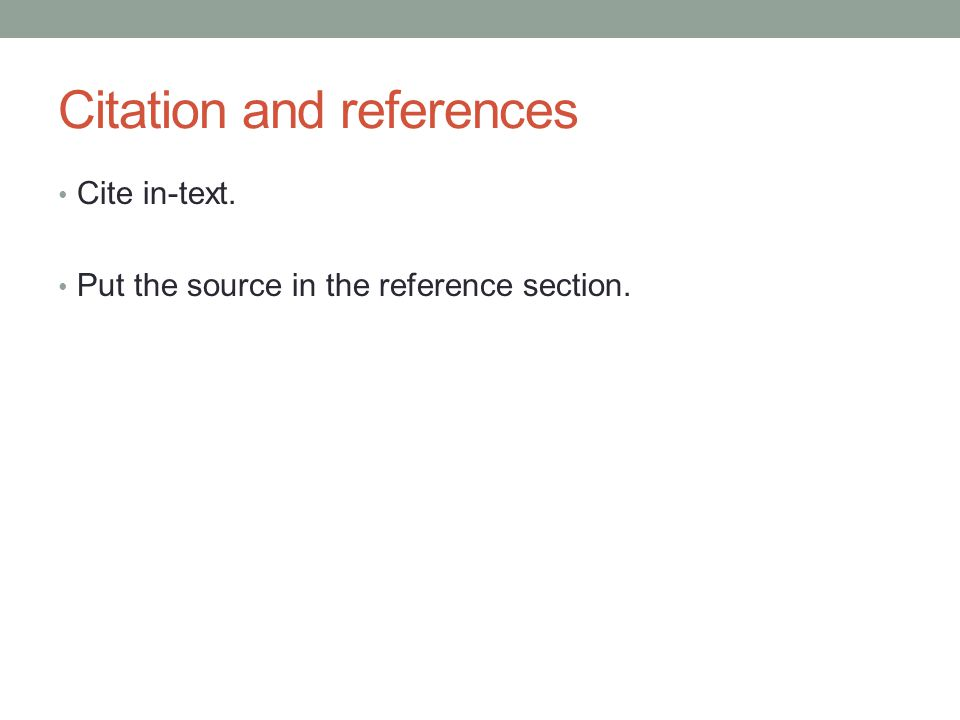 Citation and references