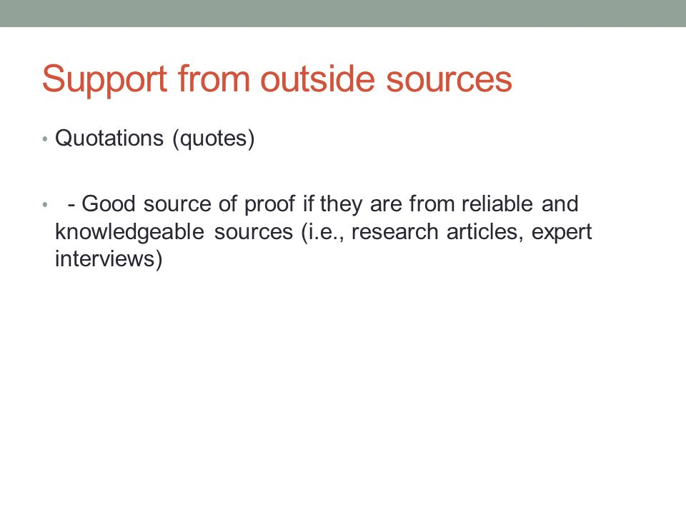 Support from outside sources