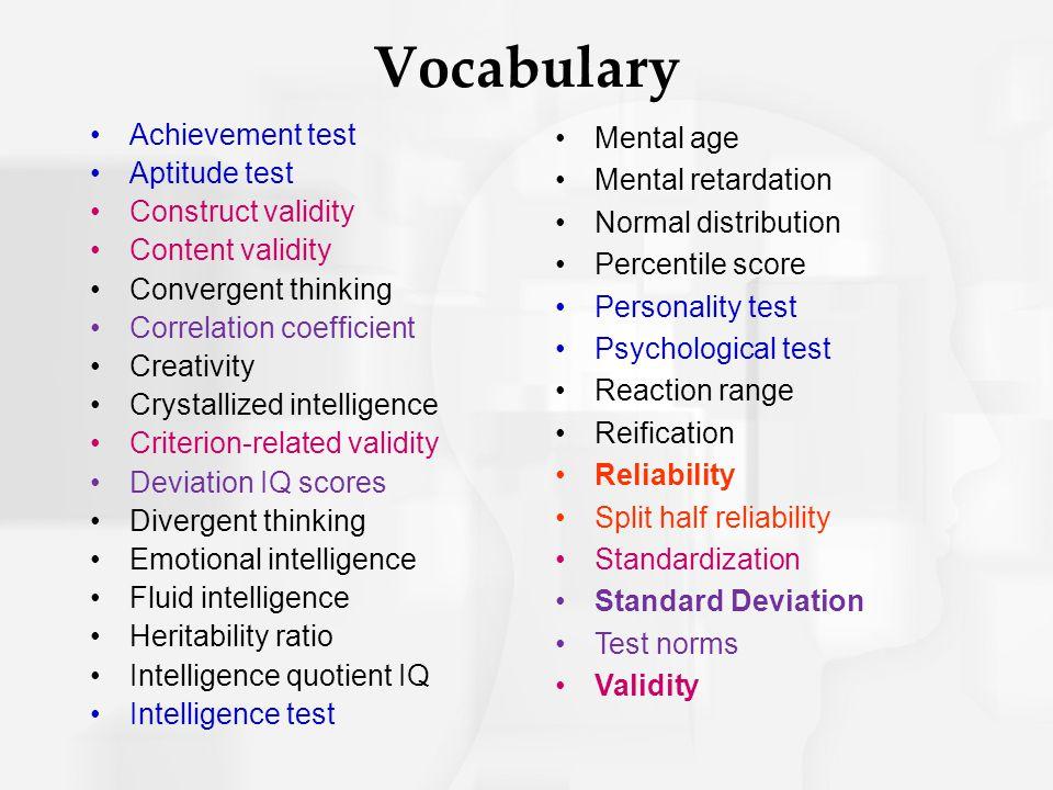 Vocabulary Achievement test Aptitude test Construct validity