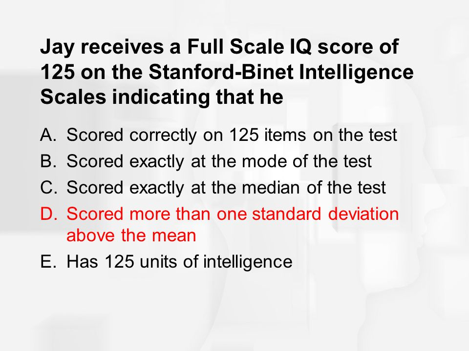 Jay receives a Full Scale IQ score of 125 on the Stanford-Binet Intelligence Scales indicating that he