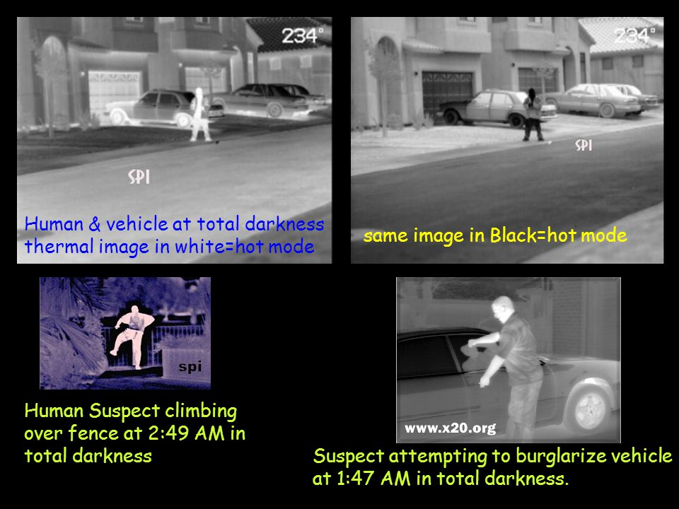Human & vehicle at total darkness thermal image in white=hot mode