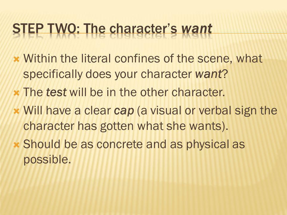 Step two: The character's want
