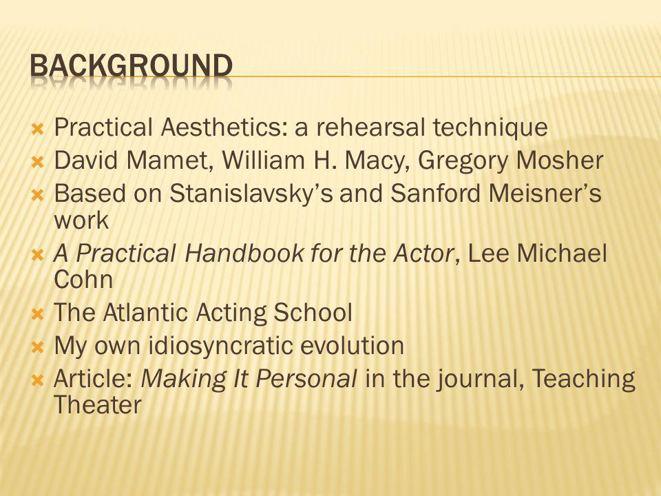 Background Practical Aesthetics: a rehearsal technique