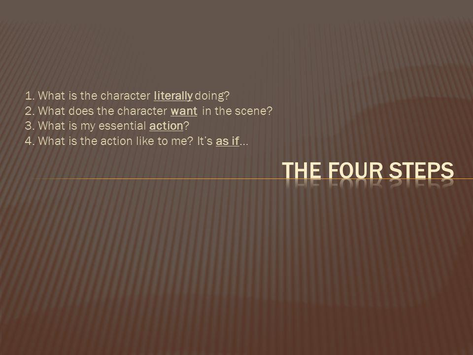 The Four Steps 1. What is the character literally doing
