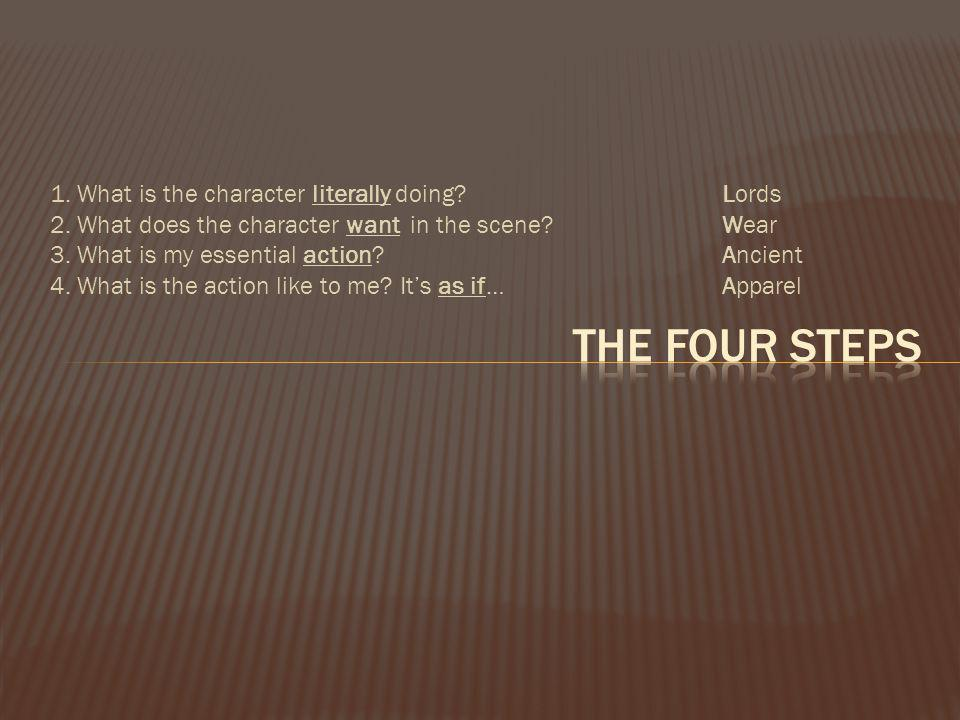 The Four Steps 1. What is the character literally doing Lords