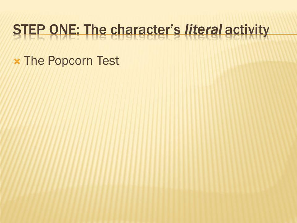 Step One: The character's literal activity
