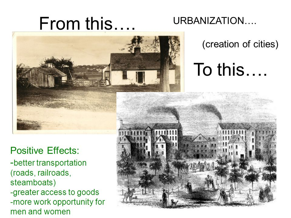 From this…. To this…. URBANIZATION…. (creation of cities)
