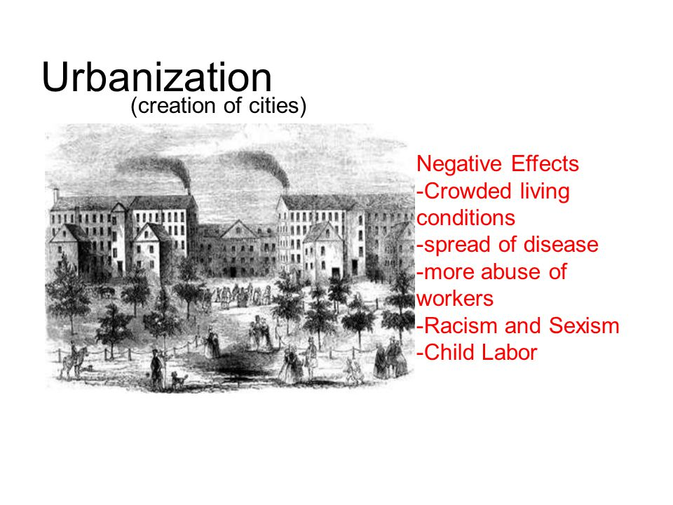 Urbanization (creation of cities) Negative Effects