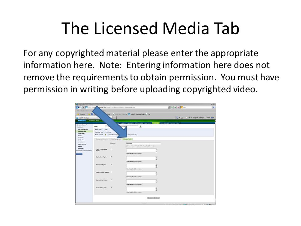 The Licensed Media Tab
