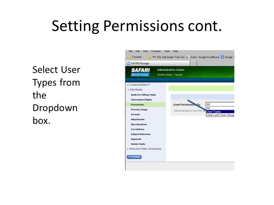 Setting Permissions cont.