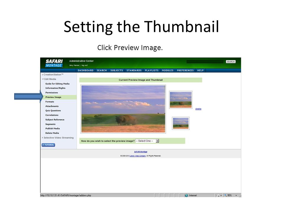 Setting the Thumbnail Click Preview Image.