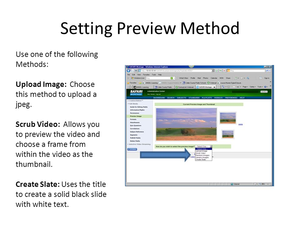 Setting Preview Method