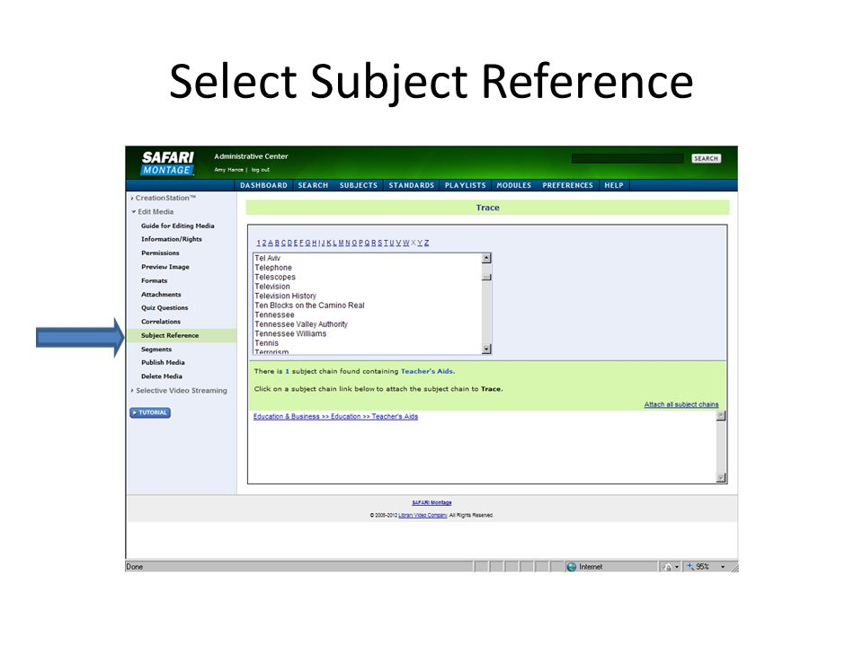 Select Subject Reference