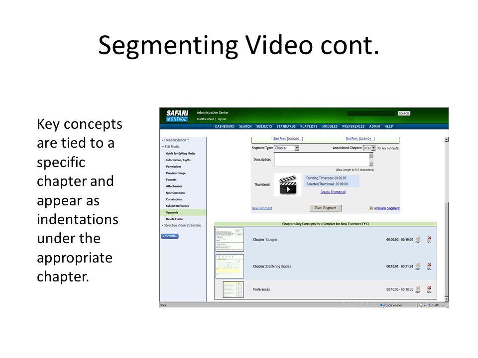 Segmenting Video cont.