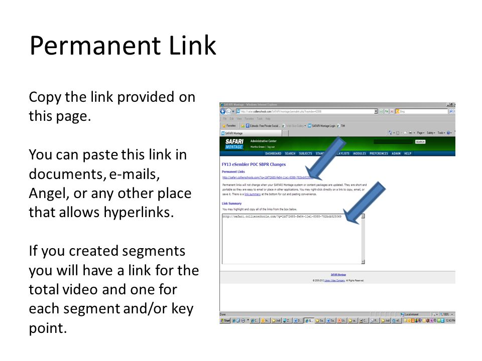 Permanent Link Copy the link provided on this page.