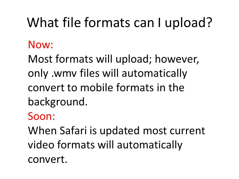 What file formats can I upload