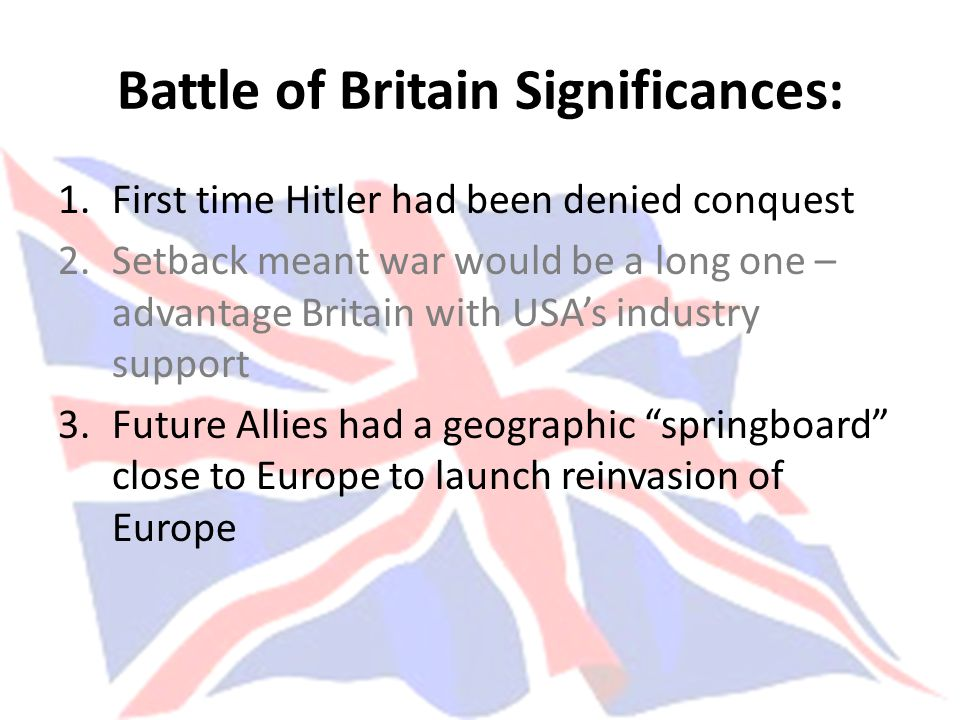 Battle of Britain Significances: